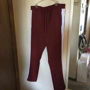 Red and white sweatpants